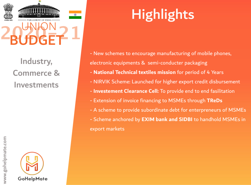 Indian union budget 2020-21 Highlights